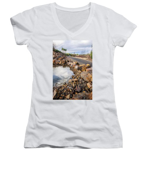 On Frozen Pond Collection 6 Women's V-Neck T-Shirt (Junior Cut) by Roxy Hurtubise