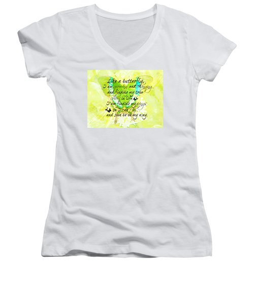 On My Way Women's V-Neck T-Shirt (Junior Cut) by Tina  LeCour