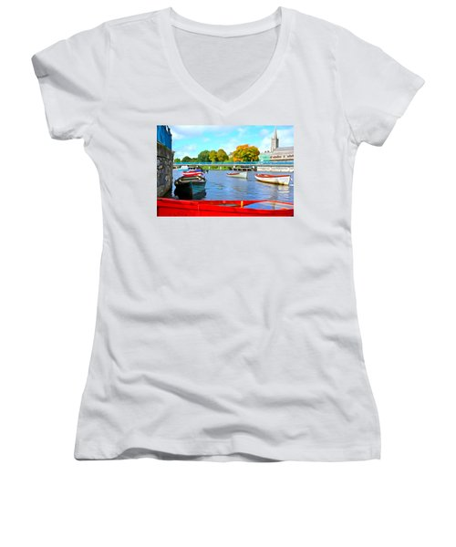 Women's V-Neck T-Shirt (Junior Cut) featuring the photograph On The Garavogue by Charlie and Norma Brock