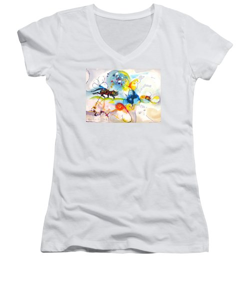 Women's V-Neck T-Shirt (Junior Cut) featuring the painting On The Prowl by Mary Armstrong