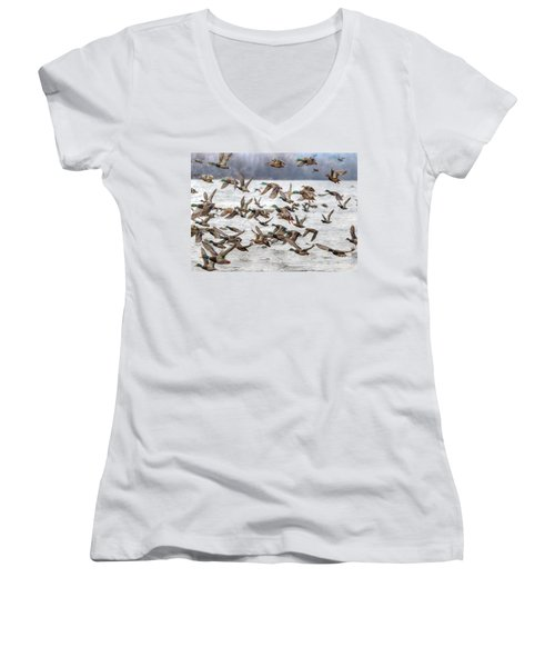 Women's V-Neck T-Shirt (Junior Cut) featuring the photograph One Direction One by Robert Pearson