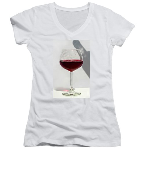 One Glass Of Red Wine With Bottle Shadow Art Prints Women's V-Neck (Athletic Fit)