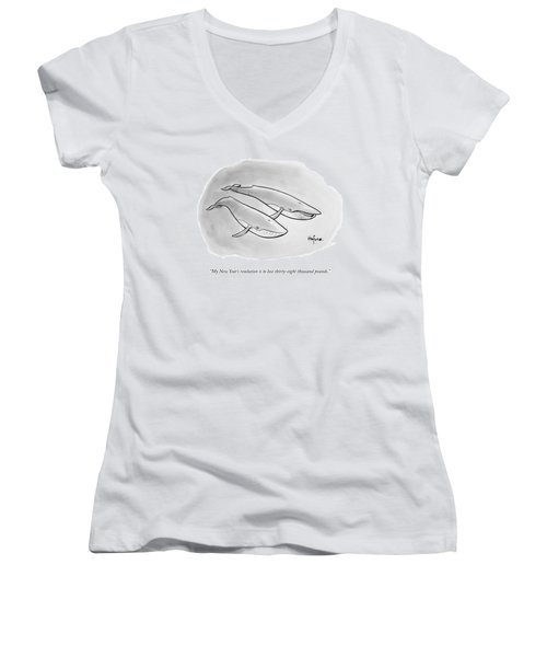One Whale Says To Another Women's V-Neck