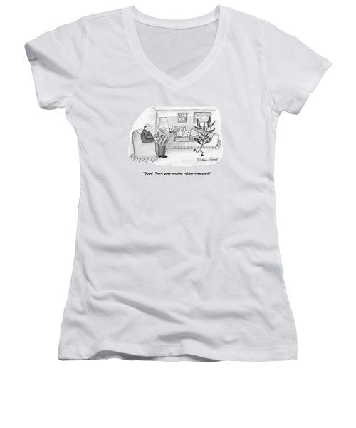 Oops!  There Goes Another Rubber-tree Plant! Women's V-Neck