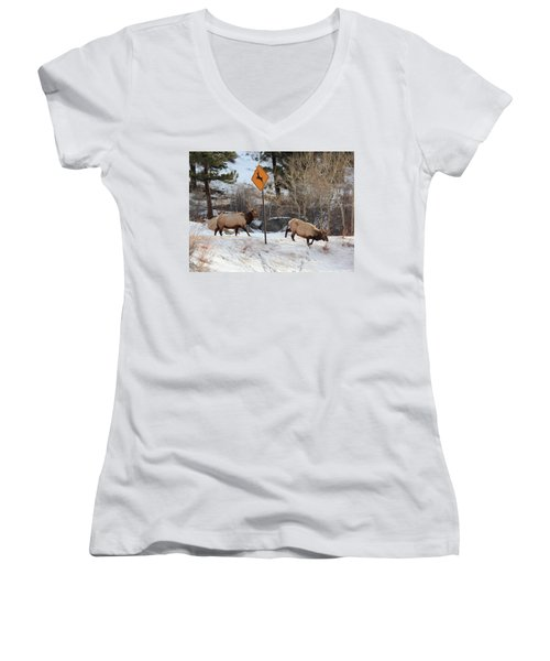 Oops Wrong Crossing Women's V-Neck (Athletic Fit)