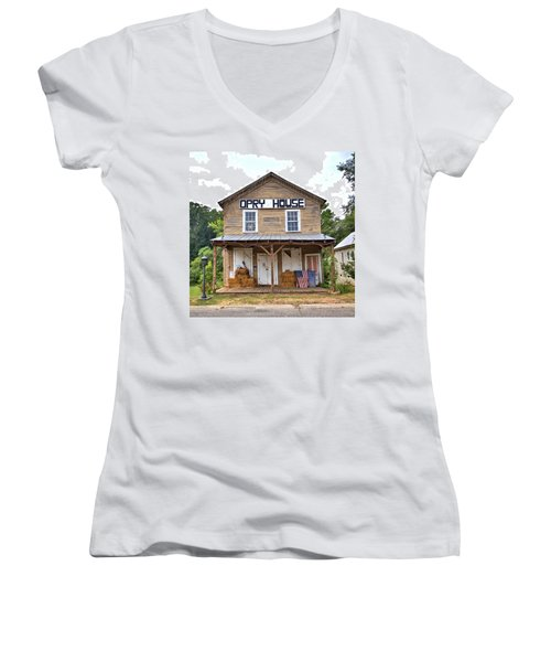 Women's V-Neck T-Shirt (Junior Cut) featuring the photograph Opry House - Square by Gordon Elwell