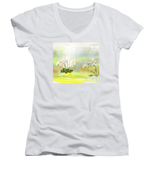 Orchids - Limited Edition 1 Of 10 Women's V-Neck T-Shirt (Junior Cut) by Gabriela Delgado