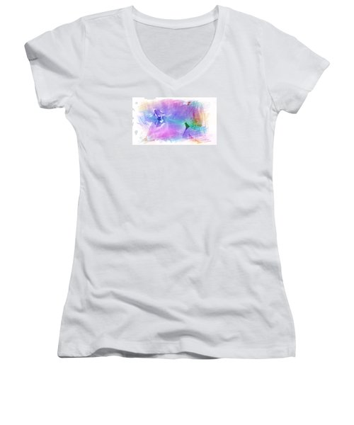 Petals In Violet Blue Women's V-Neck T-Shirt
