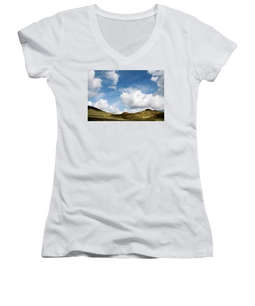 Oregon Trail Country Women's V-Neck T-Shirt (Junior Cut) by Ed  Riche