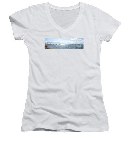 Oresundsbron Panorama 01 Women's V-Neck T-Shirt (Junior Cut) by Antony McAulay