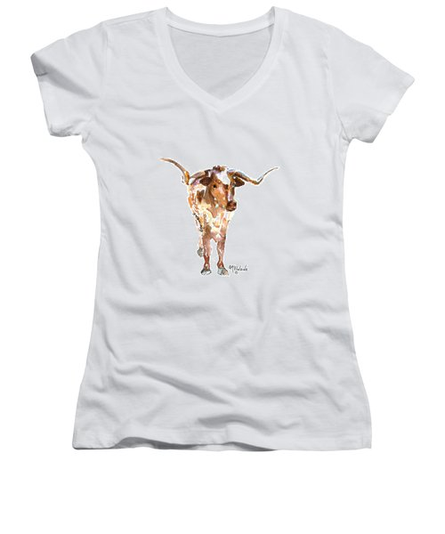 Original Longhorn Standing Earth Quack Watercolor Painting By Kmcelwaine Women's V-Neck T-Shirt (Junior Cut) by Kathleen McElwaine