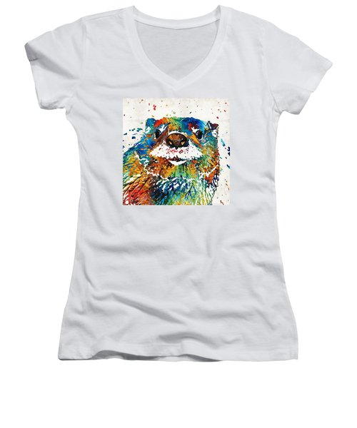 Otter Art - Ottertude - By Sharon Cummings Women's V-Neck T-Shirt