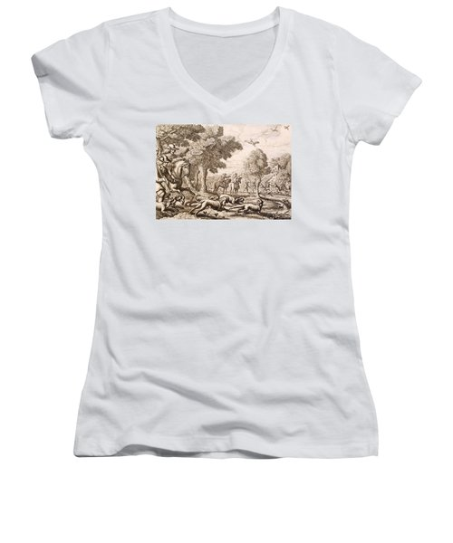 Otter Hunting By A River, Engraved Women's V-Neck T-Shirt (Junior Cut) by Francis Barlow