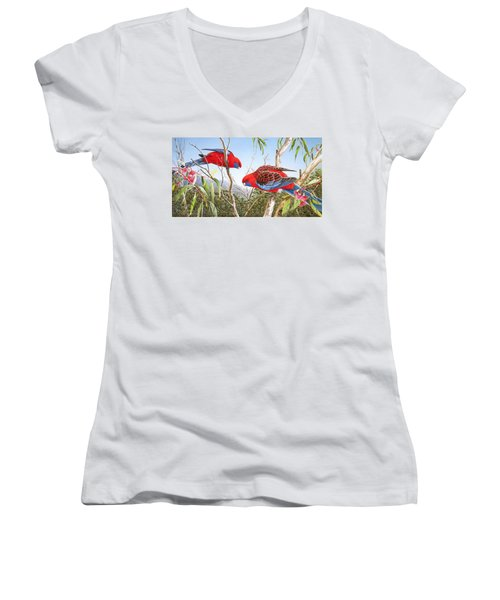 Our Beautiful Home - Crimson Rosellas Women's V-Neck (Athletic Fit)