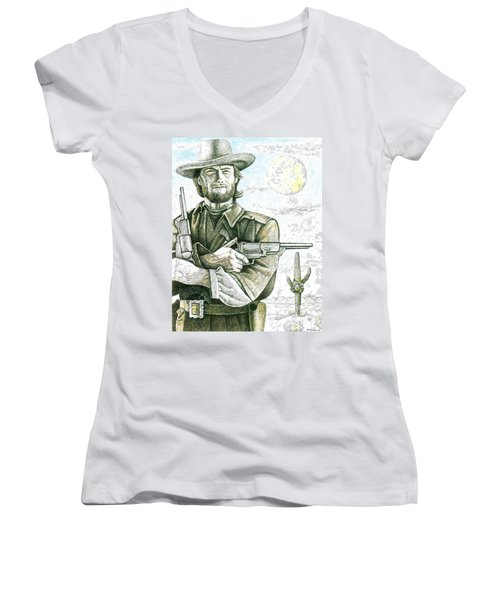 Outlaw Josey Wales Women's V-Neck T-Shirt (Junior Cut) by Bern Miller