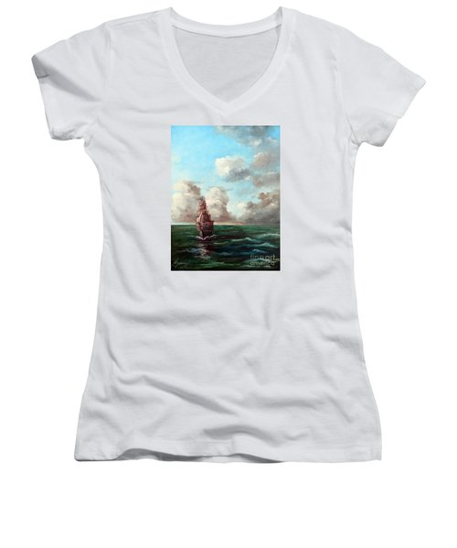 Women's V-Neck T-Shirt (Junior Cut) featuring the painting Outrunning The Storm by Lee Piper