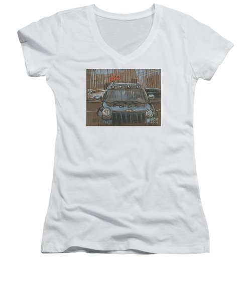 Women's V-Neck T-Shirt (Junior Cut) featuring the painting Outside Biglots by Donald Maier