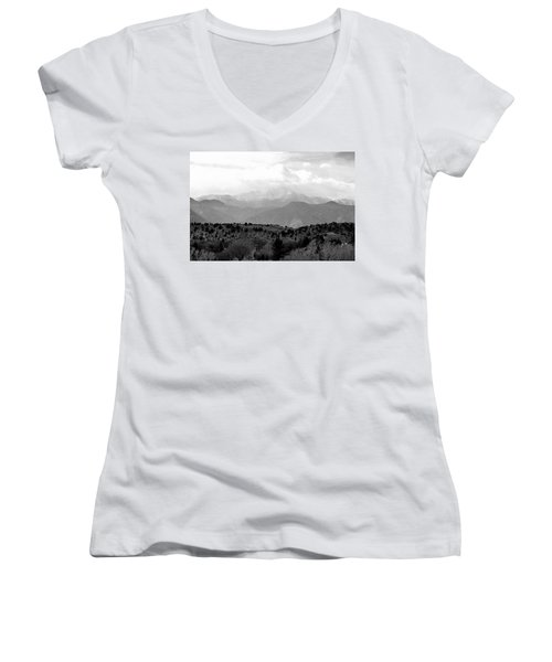 Over The Hills To Pikes Peak Women's V-Neck T-Shirt (Junior Cut) by Clarice  Lakota