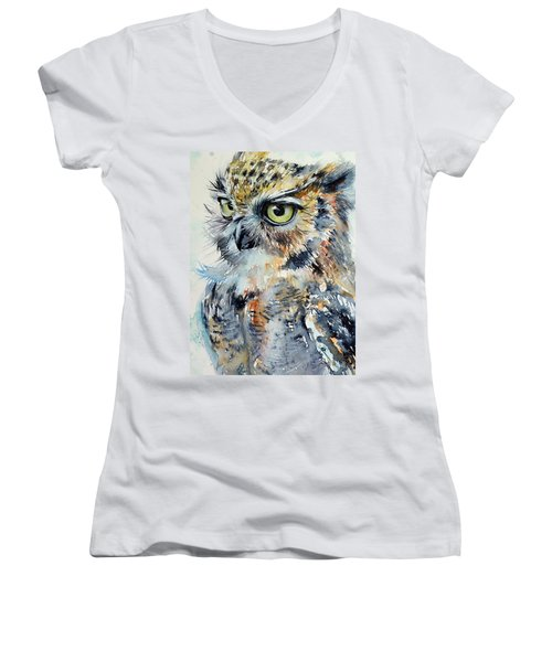 Owl Women's V-Neck T-Shirt (Junior Cut)