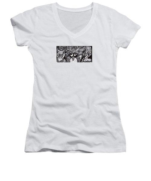 Owls Eyes Women's V-Neck T-Shirt (Junior Cut) by Adria Trail