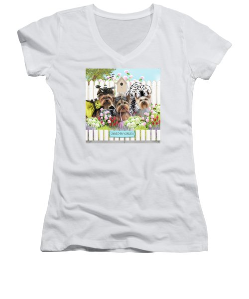Owned By Yorkies II Women's V-Neck