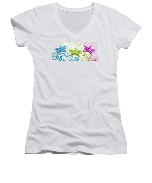 Paint Spattered Star Fish Women's V-Neck