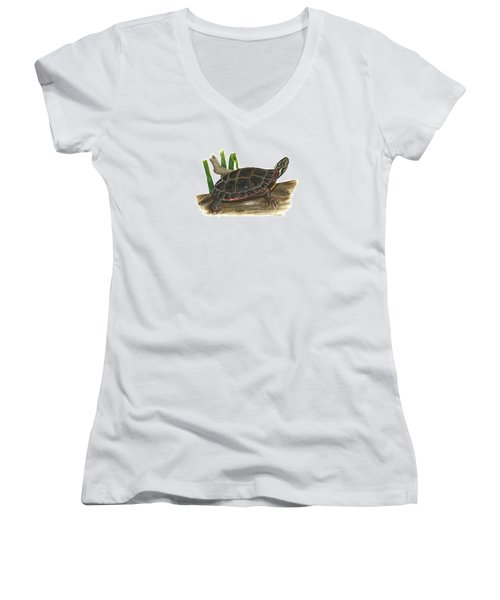 Painted Turtle Women's V-Neck T-Shirt (Junior Cut) by Cindy Hitchcock
