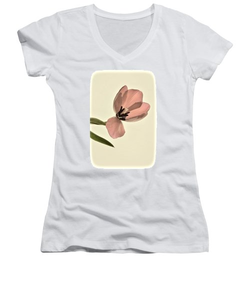Pale Pink Tulip Women's V-Neck (Athletic Fit)
