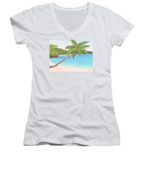 Palm In Paradise Women's V-Neck T-Shirt