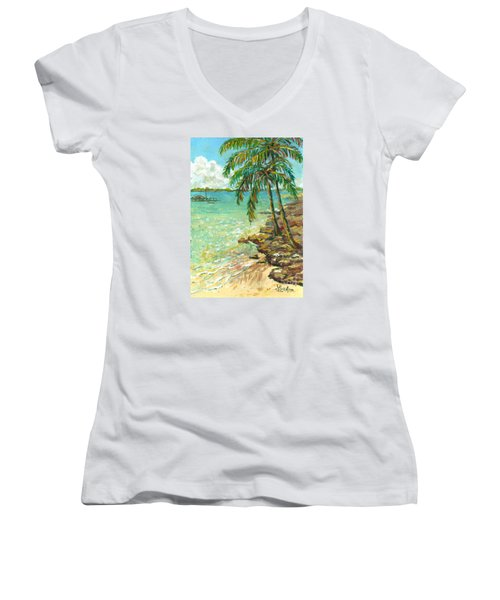 Palms On Point Of Rocks Women's V-Neck T-Shirt (Junior Cut) by Lou Ann Bagnall