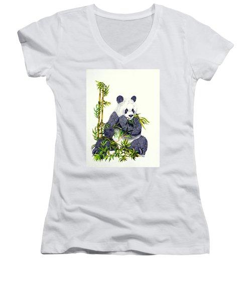 Women's V-Neck T-Shirt (Junior Cut) featuring the drawing Panda  by Terri Mills