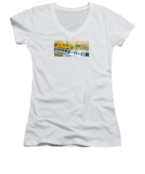 Panorama Of Buck Creek In Autumn Women's V-Neck T-Shirt (Junior Cut) by Parker Cunningham