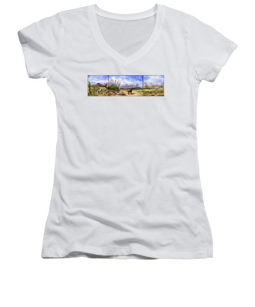 Panorama Triptych Don't Fence Me In  Women's V-Neck T-Shirt (Junior Cut) by Marilyn Smith