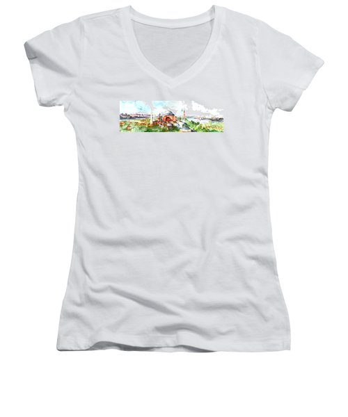 Panoramic Hagia Sophia In Istanbul Women's V-Neck T-Shirt