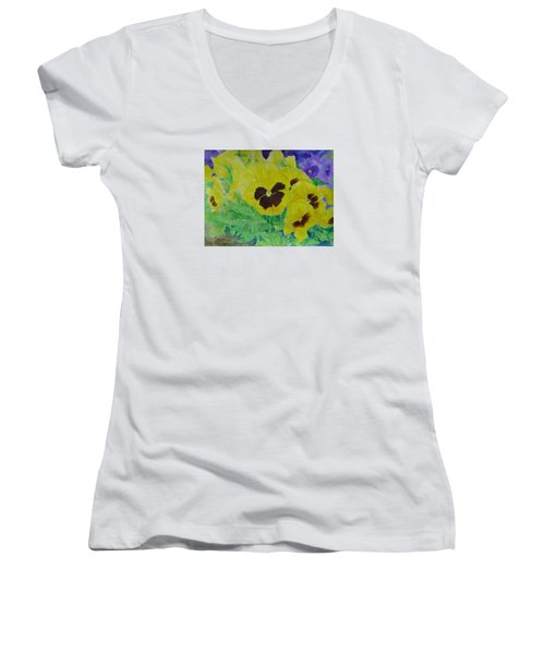 Pansies Colorful Flowers Floral Garden Art Painting Bright Yellow Pansy Original  Women's V-Neck T-Shirt (Junior Cut) by Elizabeth Sawyer
