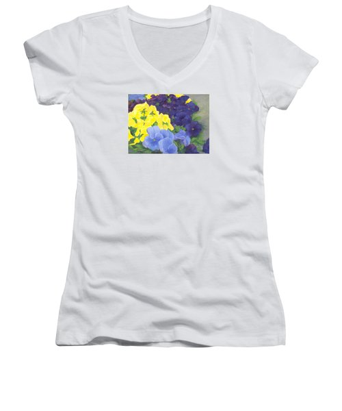 Pansy Garden Bright Colorful Flowers Painting Pansies Floral Art Artist K. Joann Russell Women's V-Neck T-Shirt (Junior Cut) by Elizabeth Sawyer