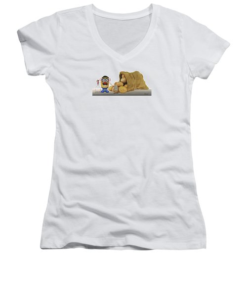 Women's V-Neck T-Shirt (Junior Cut) featuring the painting Papa Got A Brand New Bag by Ferrel Cordle