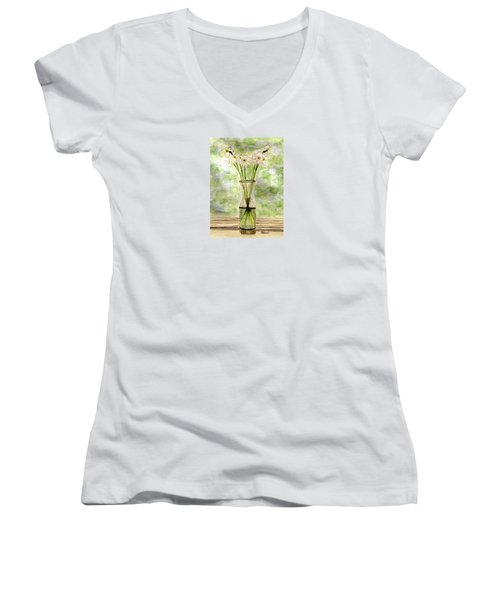 Women's V-Neck T-Shirt (Junior Cut) featuring the painting Paper Whites In Sunlight by Angela Davies