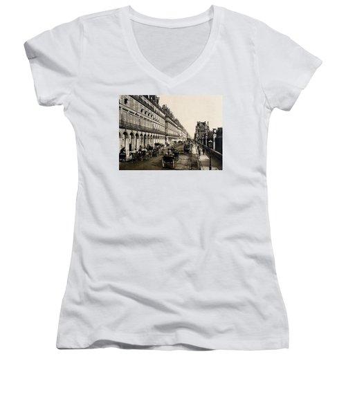 Paris 1900 Rue De Rivoli Women's V-Neck T-Shirt (Junior Cut) by Ira Shander