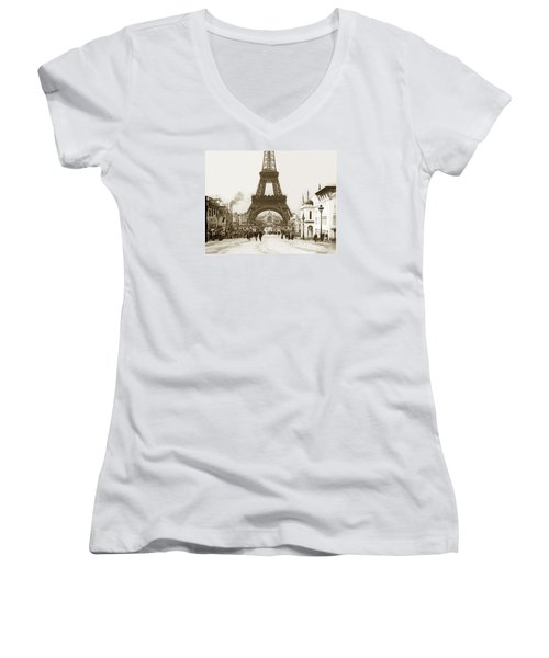 Women's V-Neck T-Shirt (Junior Cut) featuring the photograph Paris Exposition Eiffel Tower Paris France 1900  Historical Photos by California Views Mr Pat Hathaway Archives