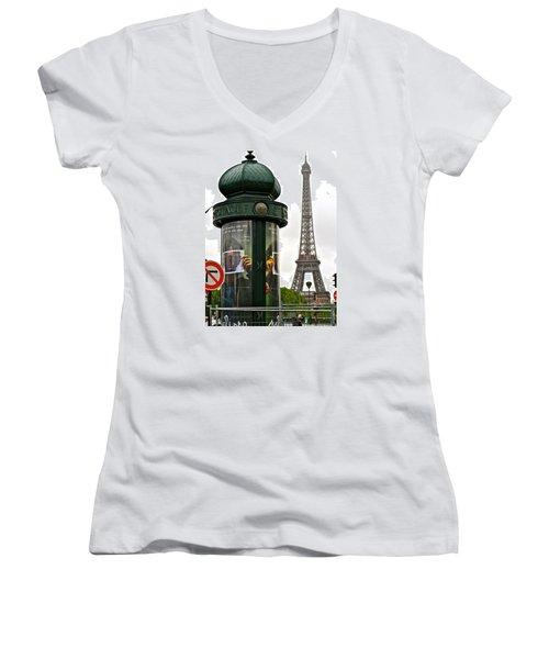 Women's V-Neck T-Shirt (Junior Cut) featuring the photograph Paris by Ira Shander