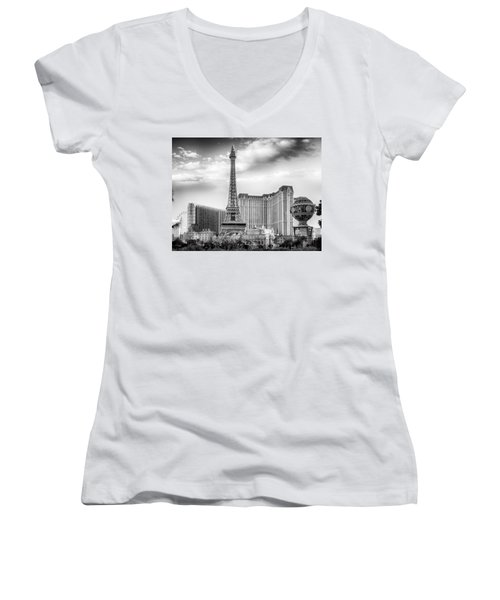 Women's V-Neck featuring the photograph Paris Las Vegas by Howard Salmon