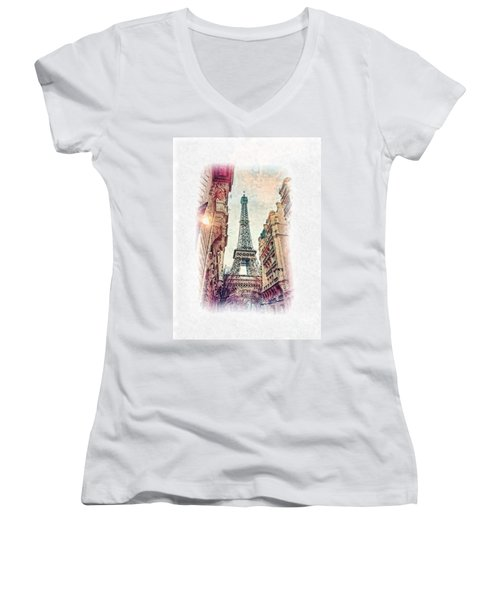 Paris Mon Amour Women's V-Neck T-Shirt
