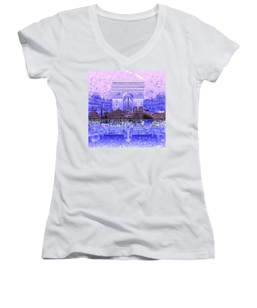 Paris Skyline Landmarks 7 Women's V-Neck T-Shirt (Junior Cut)