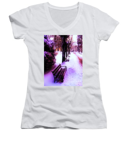 Park Benches In Snow Women's V-Neck T-Shirt (Junior Cut) by Nina Ficur Feenan