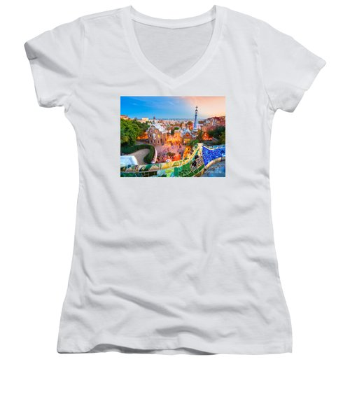 Park Guell In Barcelona - Spain Women's V-Neck T-Shirt