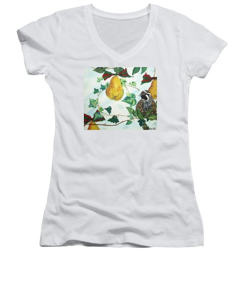 Partridge And  Pears  Women's V-Neck (Athletic Fit)