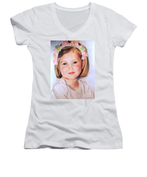Pastel Portrait Of Girl With Flowers In Her Hair Women's V-Neck T-Shirt (Junior Cut) by Greta Corens