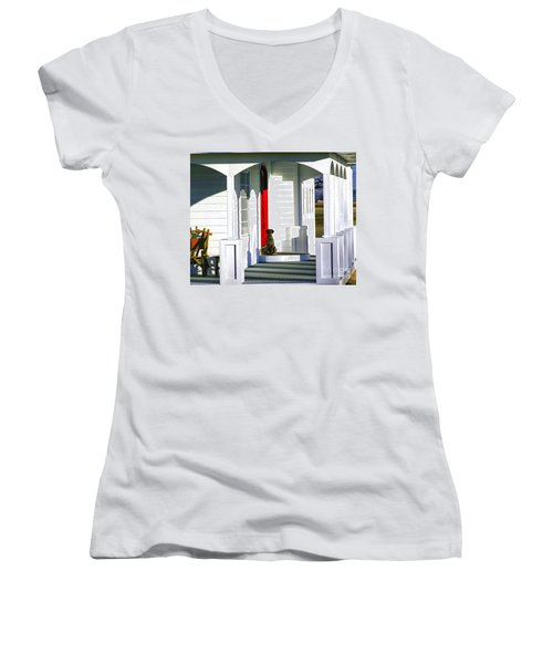 Patience Women's V-Neck T-Shirt (Junior Cut) by Steven Reed