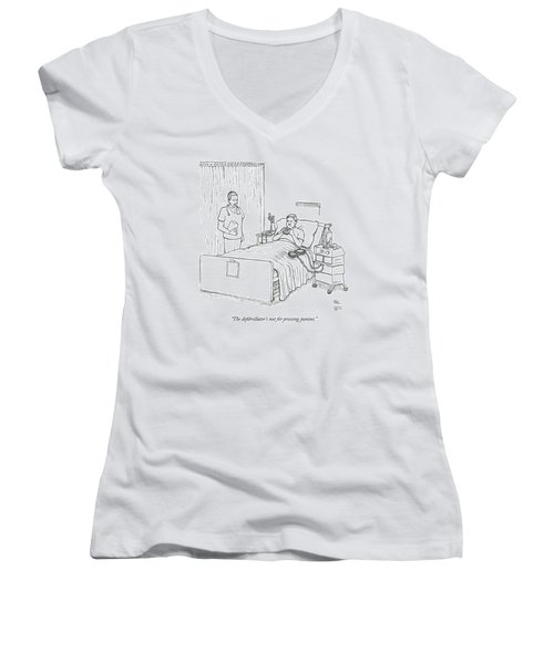 Patient Eating Sandwich In Hospital Bed Women's V-Neck